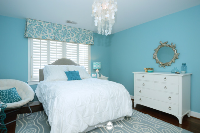 Ocean inspired aqua girls 39 bedroom transitional for Aquamarine bedroom ideas