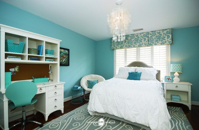 Ocean Inspired Aqua Girls Bedroom Transitional