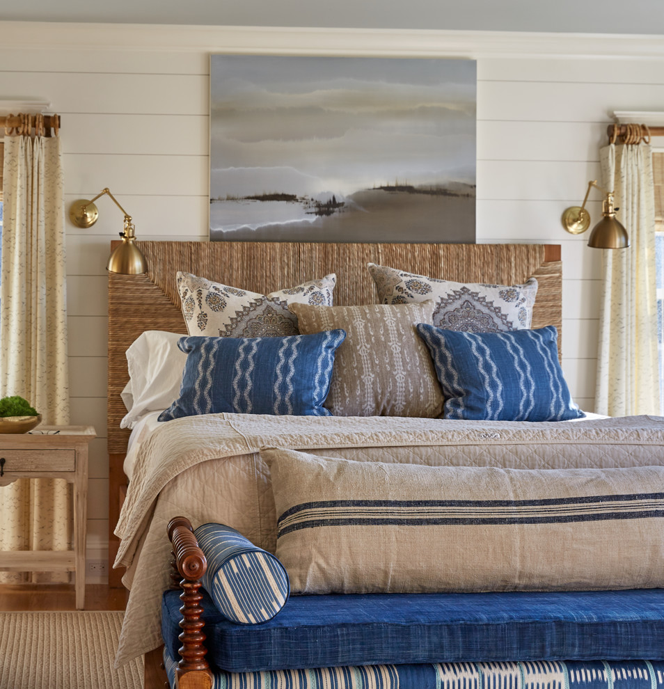 Example of a beach style bedroom design in Portland Maine