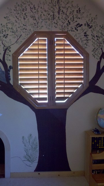 Octagon Window Covering Eclectic Bedroom Houston