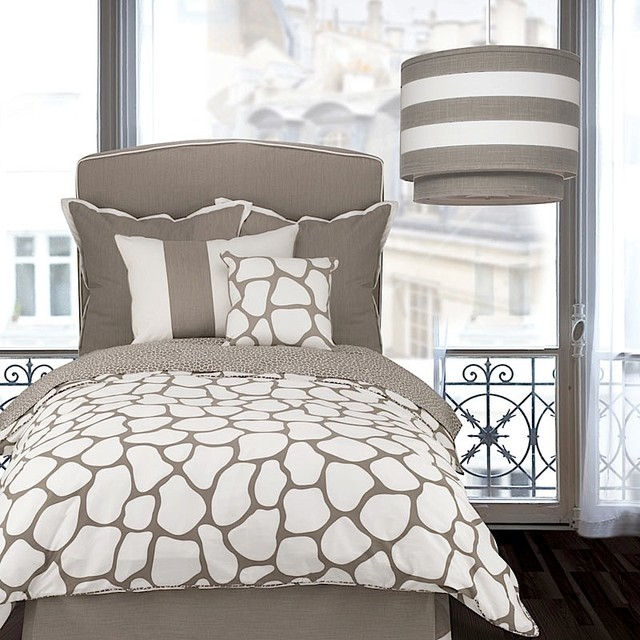 Oilo Taupe Cobblestone Duvet Cover - Contemporary - Bedroom - by purehome