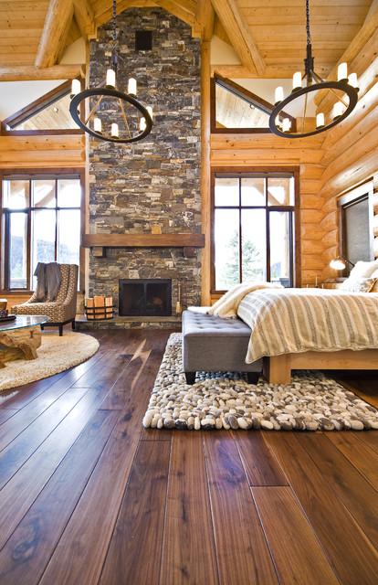 OKANAGAN LOG HOME rustic-bedroom