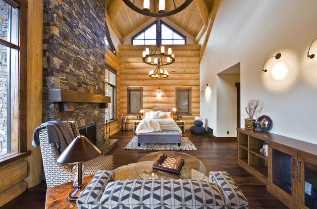 OKANAGAN LOG HOME modern bedroom