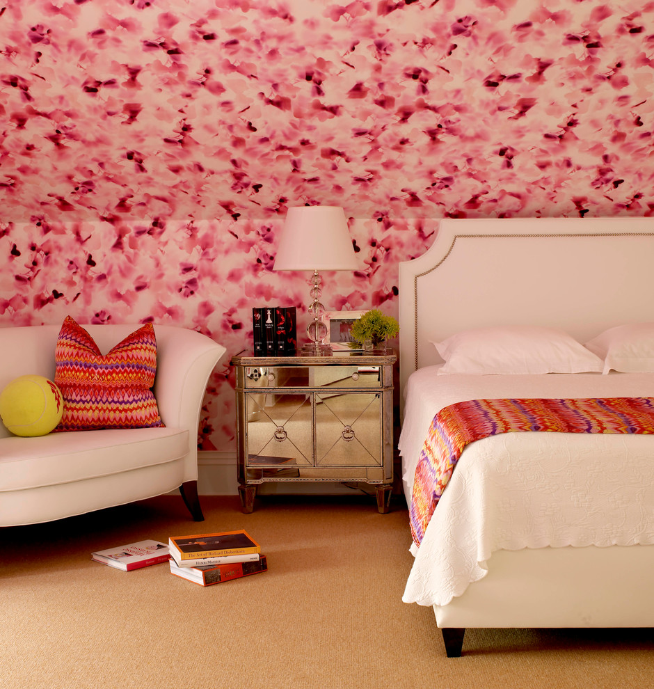 Inspiration for a transitional bedroom remodel in New York with pink walls