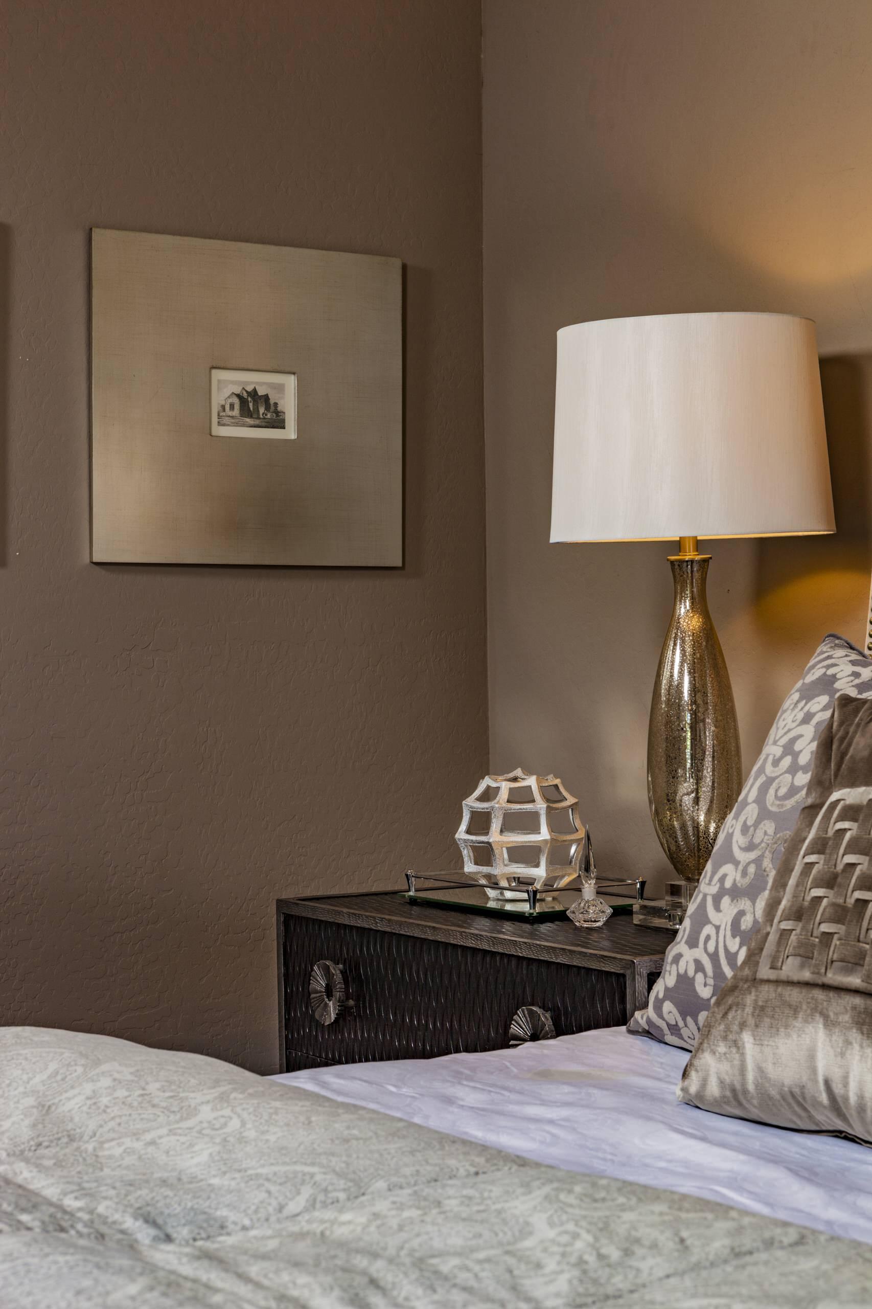 Bedroom - mid-sized modern guest brown floor and dark wood floor bedroom idea in Phoenix with gray walls