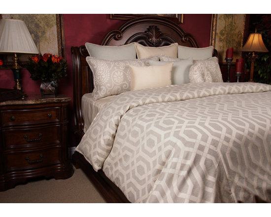Bedding 2013 - OLIVER: This soft elegant linen set has highlights of Silver Blue and Pearl complementing the line pattern. Tying in the Sliver Blue floral scroll pattern leaving this set with a relaxing elegant look.