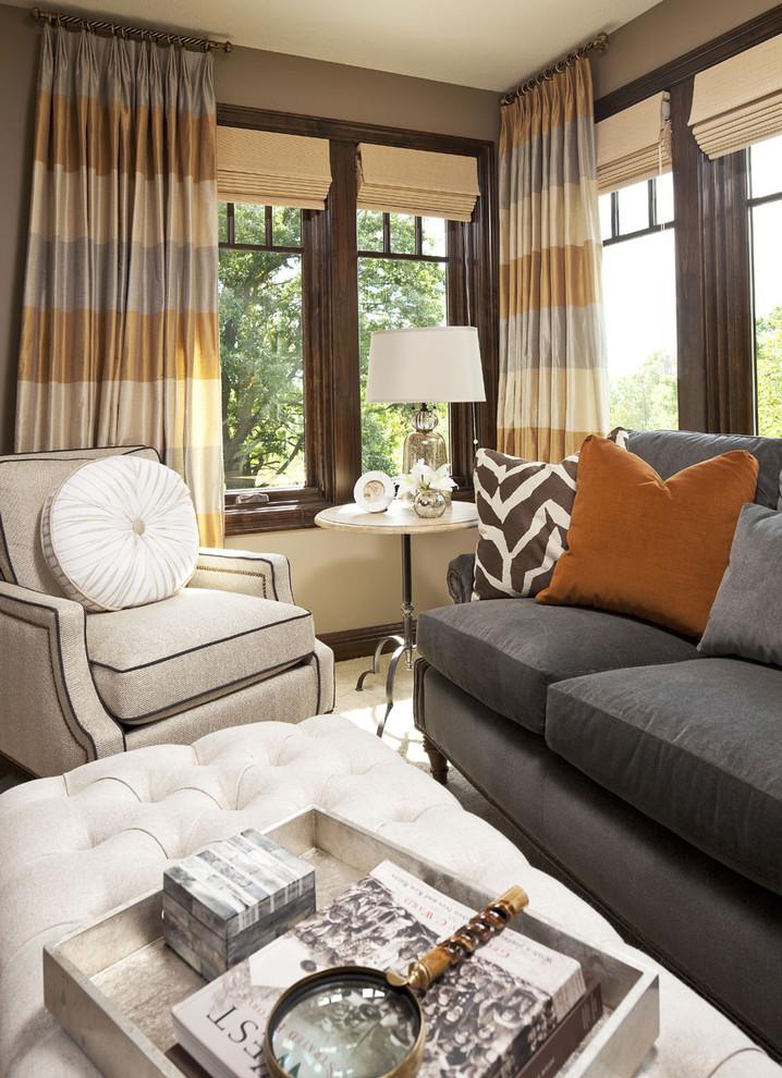 Bedroom - transitional master bedroom idea in Minneapolis with beige walls