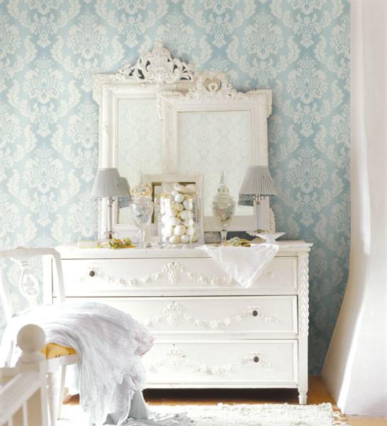 ombre damask blue wallpaper traditional bedroom - Damask Bedroom Ideas