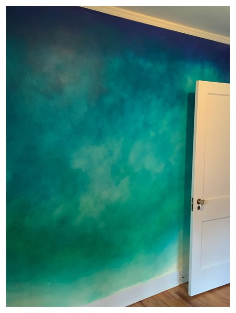 Blue bedroom wall paint ideas - Val Wanted Me To Paint An Ombre Like Wall In Her Bedroom That Was