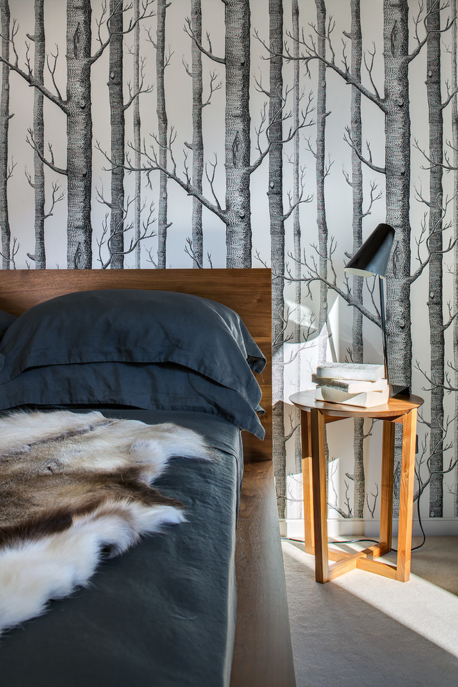 Inspiration for a mid-sized contemporary guest carpeted bedroom remodel in Sydney with multicolored walls