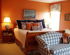 Orange and navy bedroom traditional-bedroom