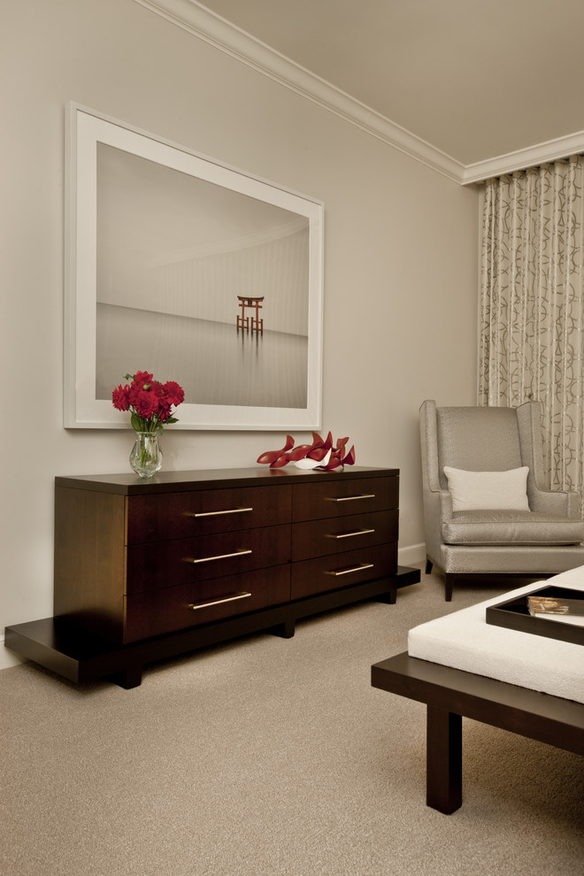 Trendy master carpeted bedroom photo in Chicago with gray walls