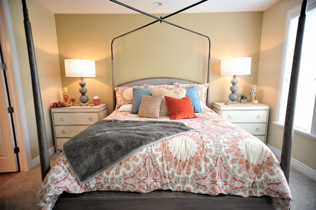 Example of a transitional bedroom design in Salt Lake City