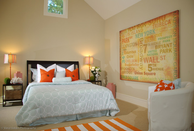 organic contemporary with whimsical pops  transitional  bedroom, Bedroom decor