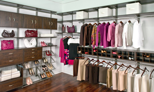 Organized Living FreedomRail Womanu0027s Walk In Closet Contemporary Bedroom