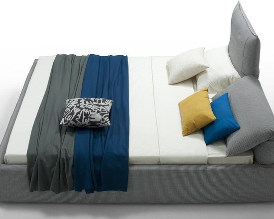 Otago - Modern Gray Fabric Bed with Adjustable HeadrestS - Features: