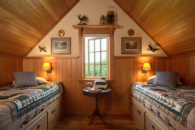 Otter tail hunting lodge rustic bedroom for Hunting cabin interior designs