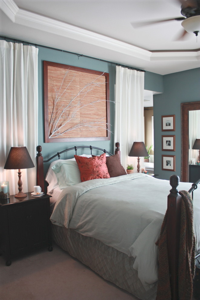 Inspiration for a contemporary bedroom remodel in Seattle with blue walls