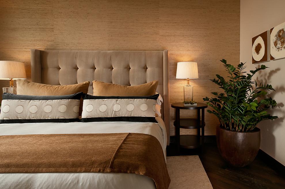 Bedroom - contemporary dark wood floor bedroom idea in Phoenix with beige walls