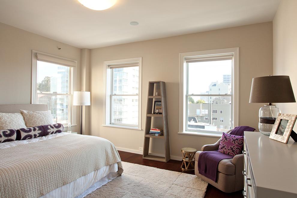 Trendy bedroom photo in San Francisco with beige walls