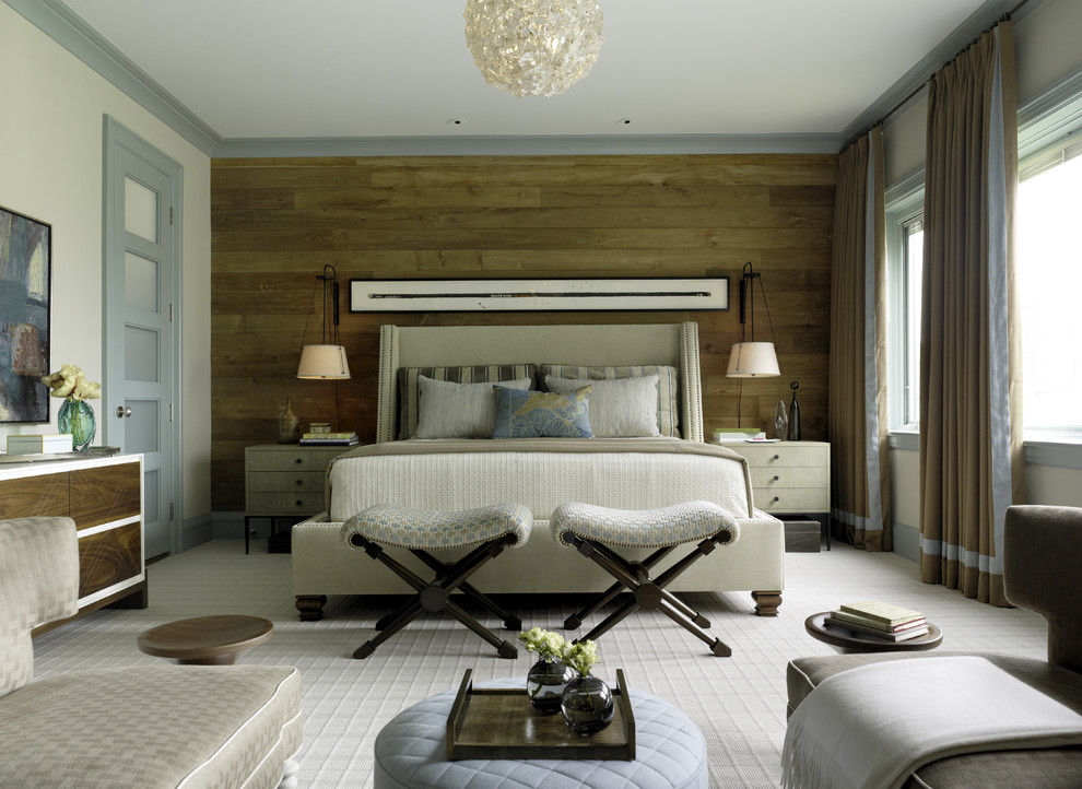 Inspiration for a contemporary carpeted bedroom remodel in San Francisco with beige walls