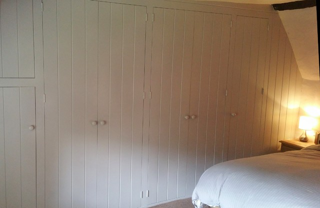 Painted Fitted Wardrobe For Old Cottage With Sloping Floor Uneven Walls And Cei Country