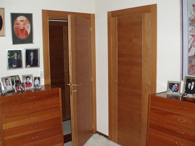 pair of interior doors in cherry contemporary bedroom newark
