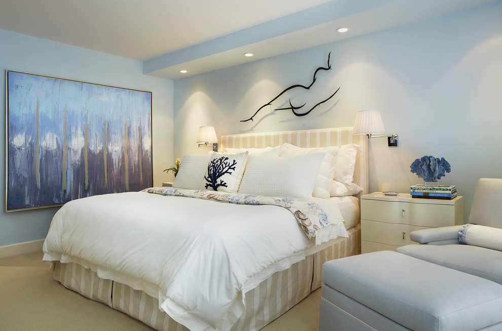Transitional carpeted bedroom photo in Miami with blue walls