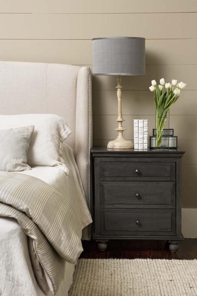 Large elegant master dark wood floor bedroom photo in Charleston with beige walls