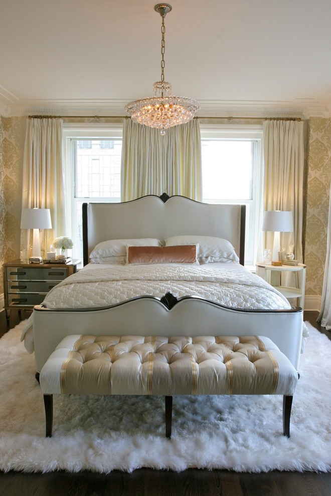 Example of a large classic master dark wood floor bedroom design in Chicago with beige walls
