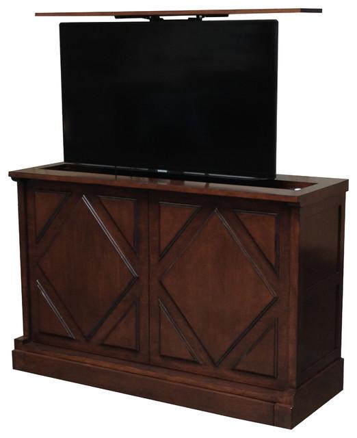 pancho via hidden tv lift console us made tv lift console