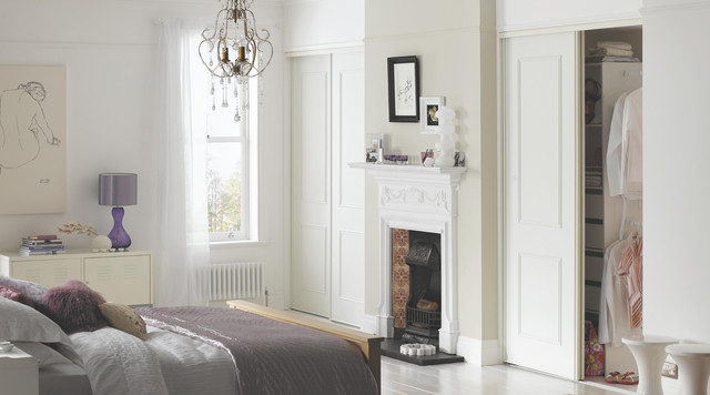 Panelled white built in wardrobes contemporary bedroom for B q design your own bedroom