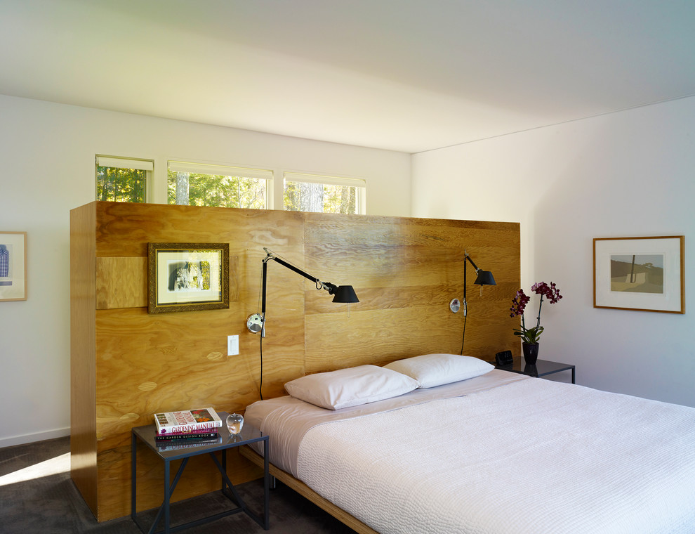 Bedroom - mid-sized mid-century modern master concrete floor bedroom idea in Bridgeport with white walls and no fireplace
