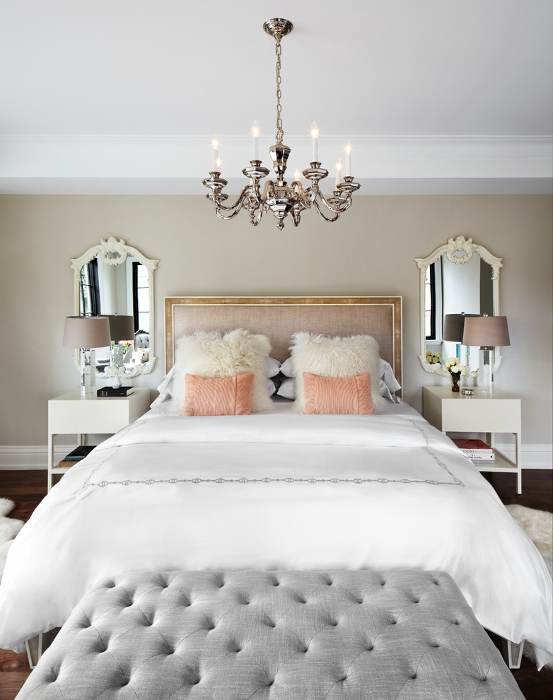 Inspiration for a timeless master bedroom remodel in Toronto with beige walls