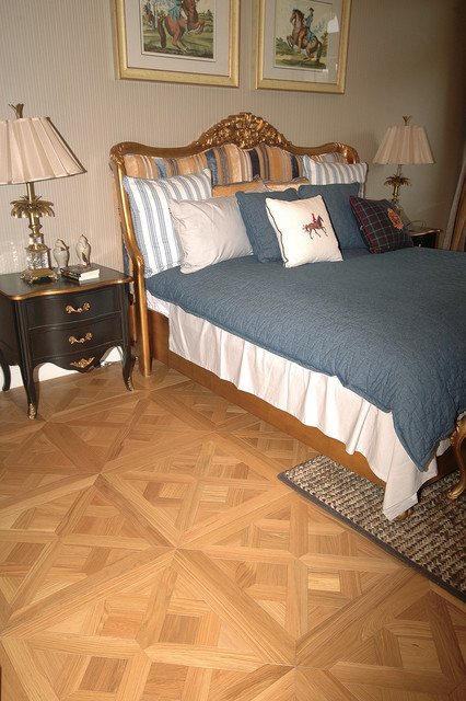 Traditional Bedroom Carpet : Parquet flooring traditional bedroom other metro