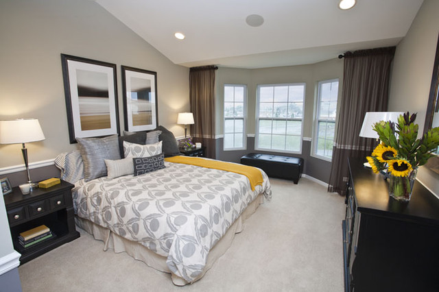 peaceful yellow and gray bedroom contemporary bedroom