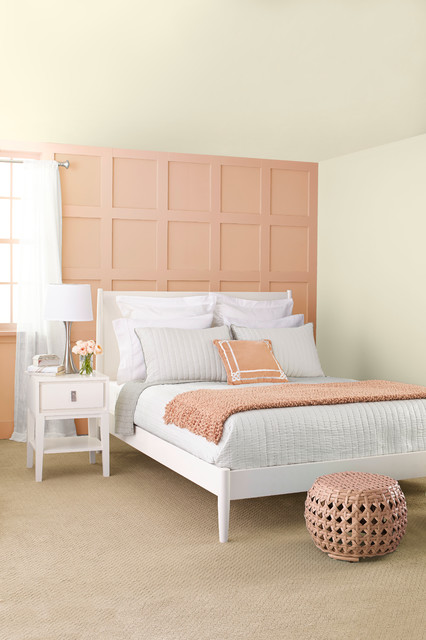 Peach Gray Transitional Bedroom By Lowe 39 S Home Improvement
