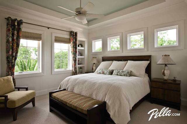 Pella architect series casement and fixed windows contemporary bedroom cedar rapids by Master bedroom bed against window