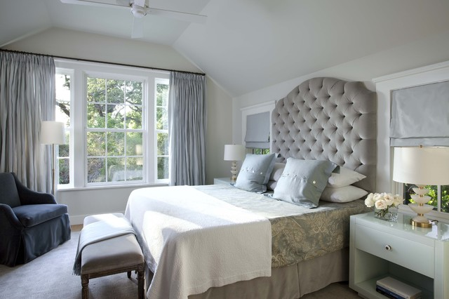 Example of a classic guest bedroom design in Austin with gray walls