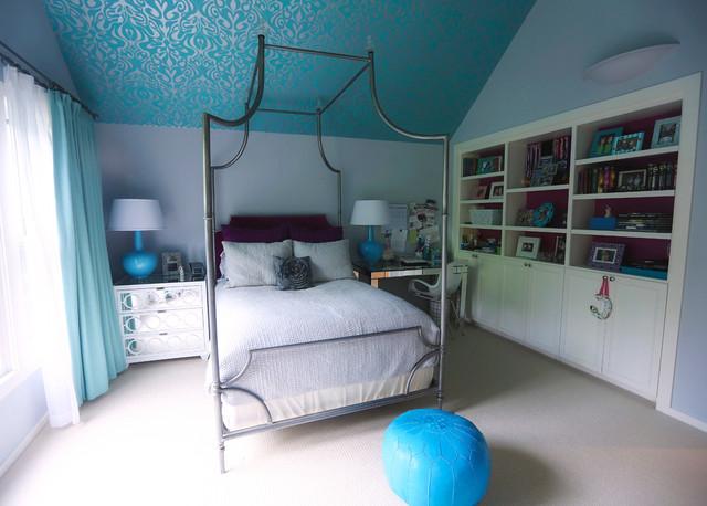 Pemberton contemporary bedroom austin by alison - Slanted ceiling paint ideas ...