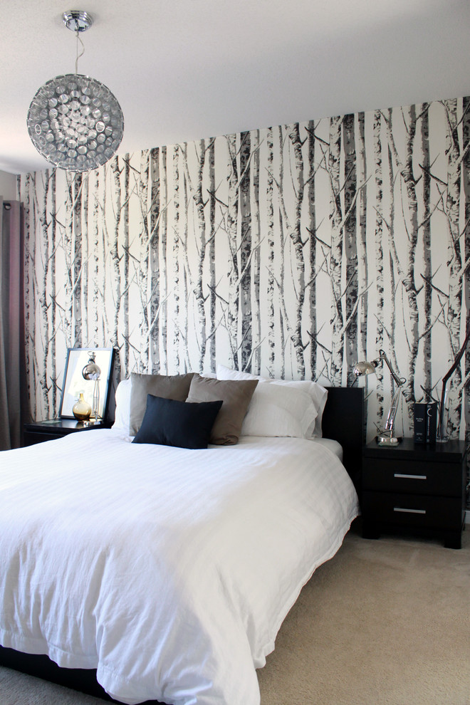 Trendy carpeted bedroom photo in Ottawa with white walls