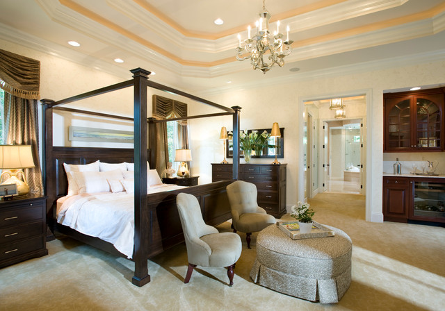 Elegant Traditional Carpeted Bedroom Idea In Philadelphia With Beige Walls