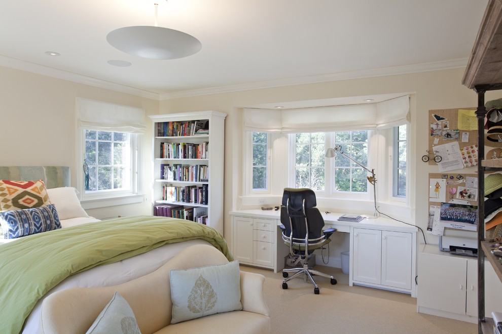 Elegant carpeted bedroom photo in San Francisco with beige walls