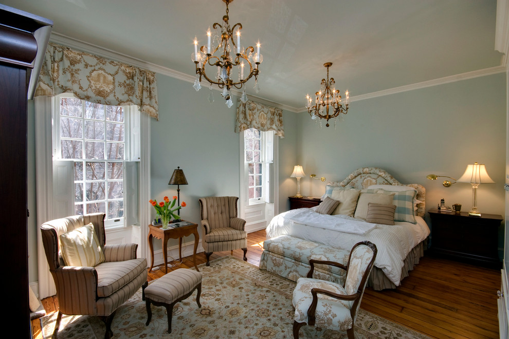 Example of a classic bedroom design in Philadelphia with blue walls