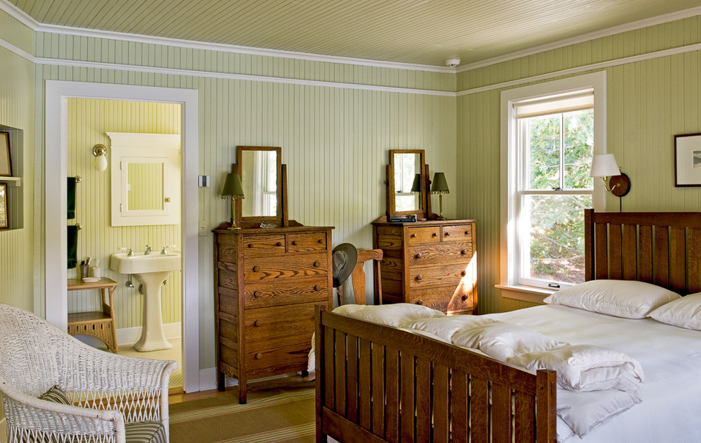 Beach style bedroom photo in Portland Maine with green walls