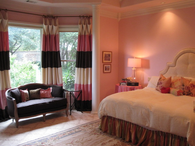 pink and brown bedroom traditional bedroom