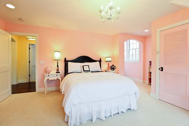 Elegant Bedroom Photo In Minneapolis With Pink Walls