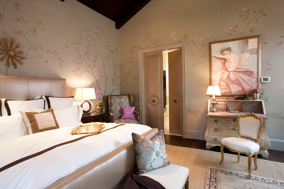 Elegant bedroom photo in Houston with multicolored walls