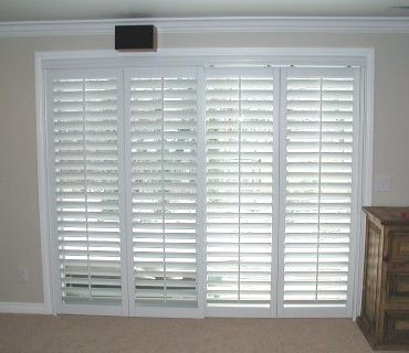 Plantation Shutter Slider Traditional Bedroom
