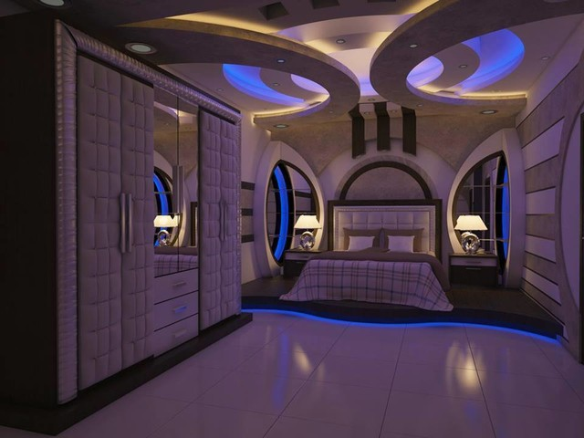 Plaster Of Paris False Ceiling Asian Bedroom